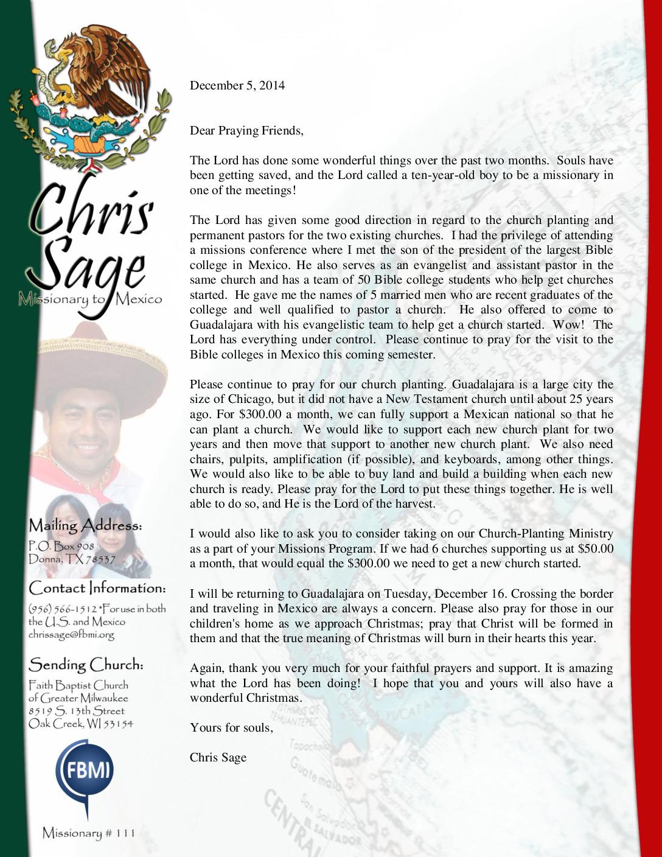 thumbnail of Chris Sage December 2014 Prayer Letter