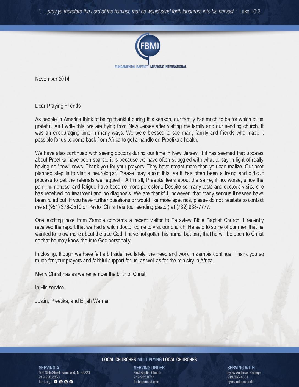 thumbnail of Justin Warner November 2014 Prayer Letter