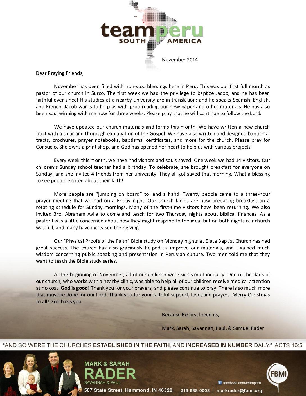 thumbnail of Mark Rader November 2014 Prayer Letter