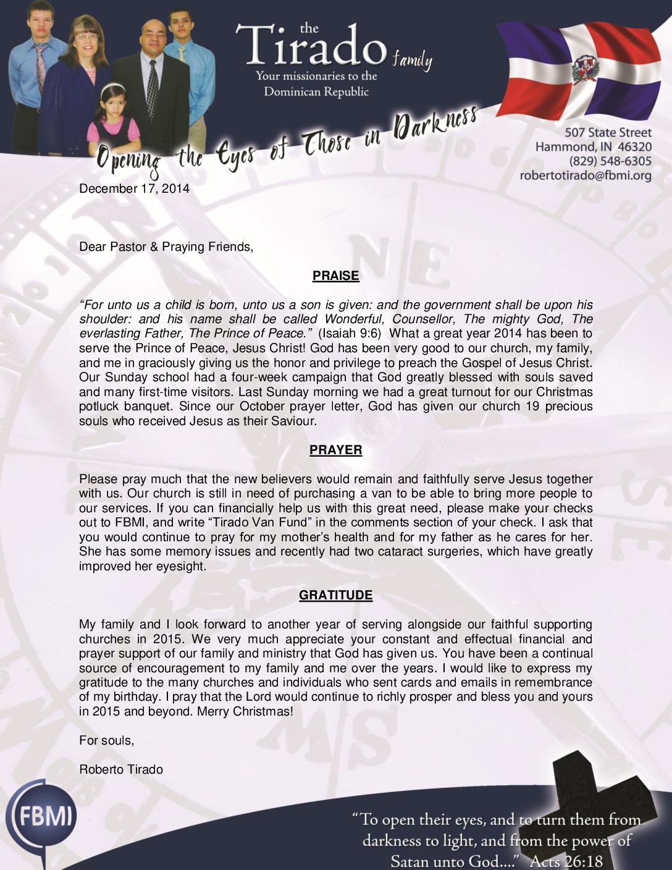 thumbnail of Robert Tirado December 2014 Prayer Letter