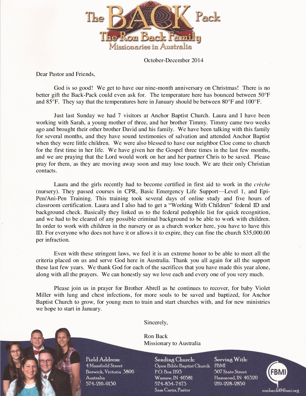 thumbnail of Ron Back Oct-Dec 2014 Prayer Letter