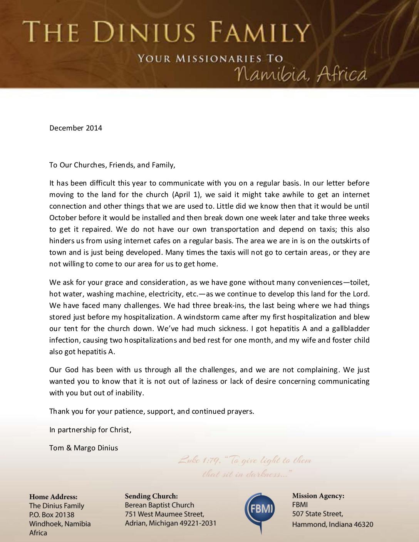 thumbnail of Tom Dinius December 2014 Prayer Letter