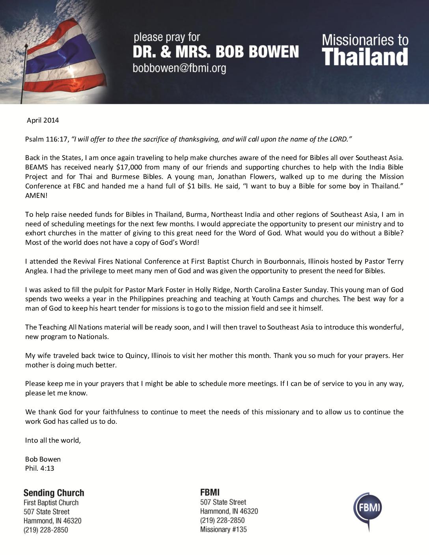 thumbnail of Bob Bowen April 2014 Prayer Letter