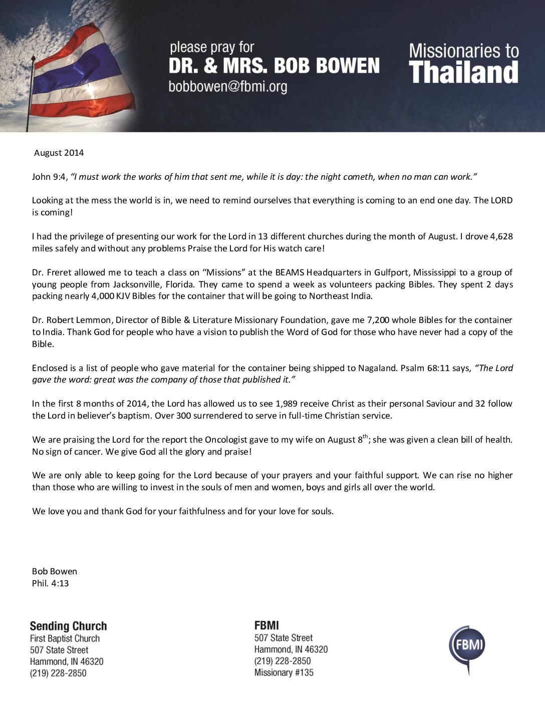 thumbnail of Bob Bowen August 2014 Prayer Letter