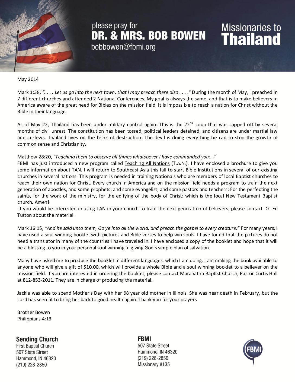 thumbnail of Bob Bowen May 2014 Prayer Letter