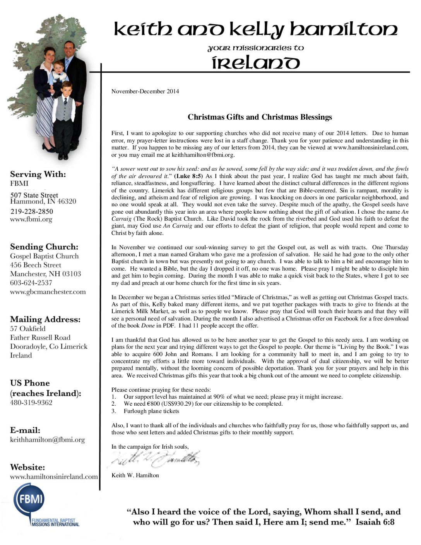 thumbnail of Keith Hamilton Nov-Dec 2014 Prayer Letter