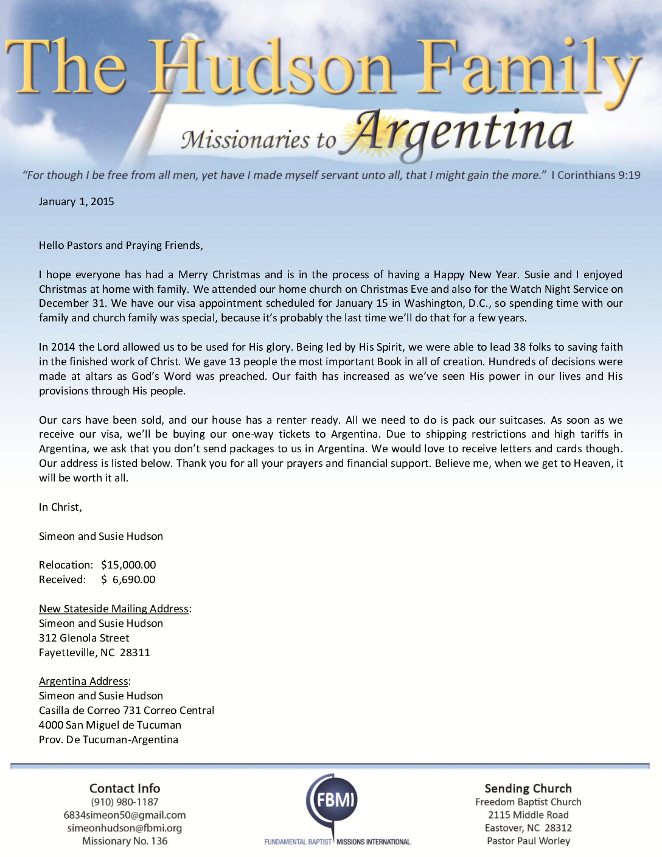 thumbnail of Simeon Hudson January 2015 Prayer Letter