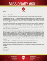 Missionary #6011 Prayer Letter:  A Useful Month in the Service of the Lord