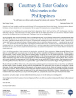 Courtney Godsoe Prayer Letter: An Open Door IN and FOR the Philippines