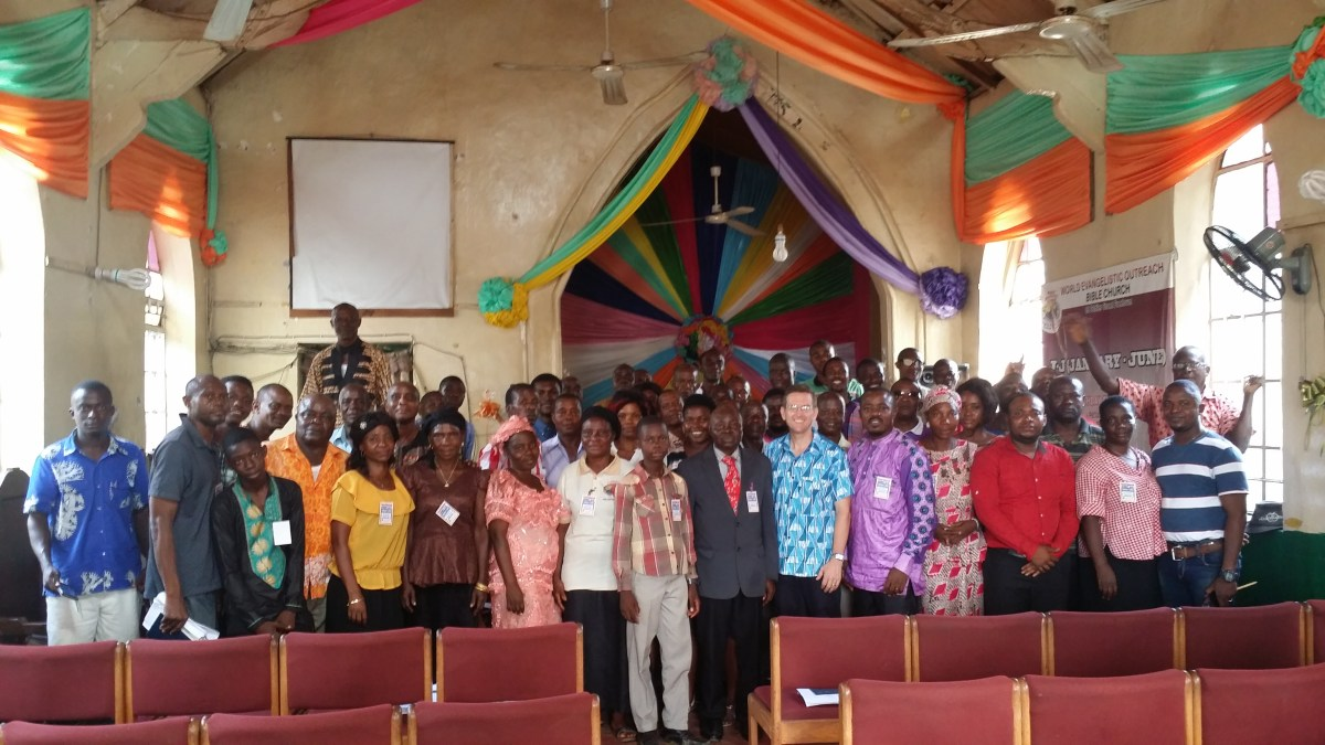 Missionary Ted Speer with Christian workers in Sierra Leone