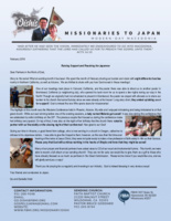 Go Oishi Prayer Letter:  Raising Support and Reaching the Japanese