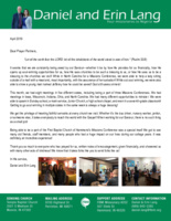 Daniel Lang Prayer Letter:  Awed by Our Saviour!