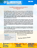 Oral Anderson Prayer Letter: The Power of the Love of Christ