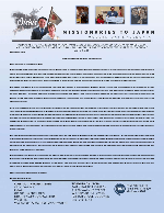Go Oishi Prayer Letter:  Now Supported by Over 50 Churches!