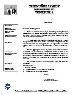 Andres Nunez Prayer Letter:  Please Pray for Venezuela