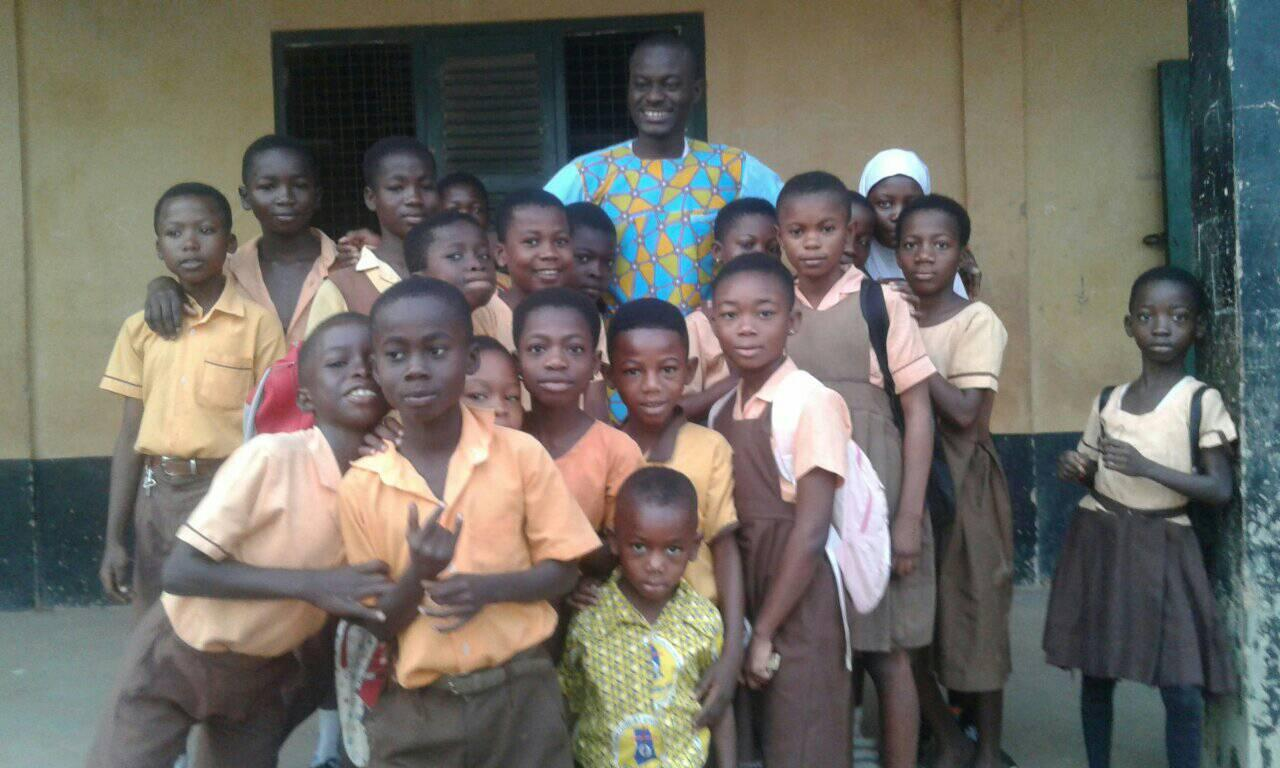 Prince Oppong with his students