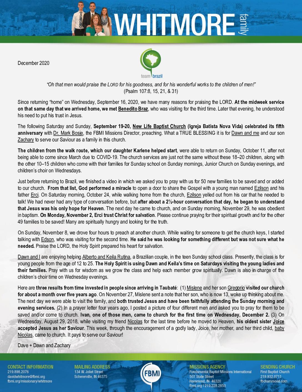 thumbnail of Dave Whitmore December 2020 Prayer Letter – 2