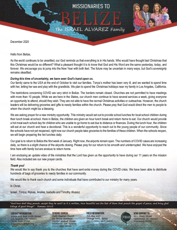 thumbnail of Israel Alvarez December 2020 Prayer Letter – 2