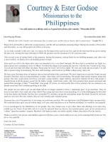 Courtney Godsoe Prayer Letter: The Lord's Hand Is Not Shortened