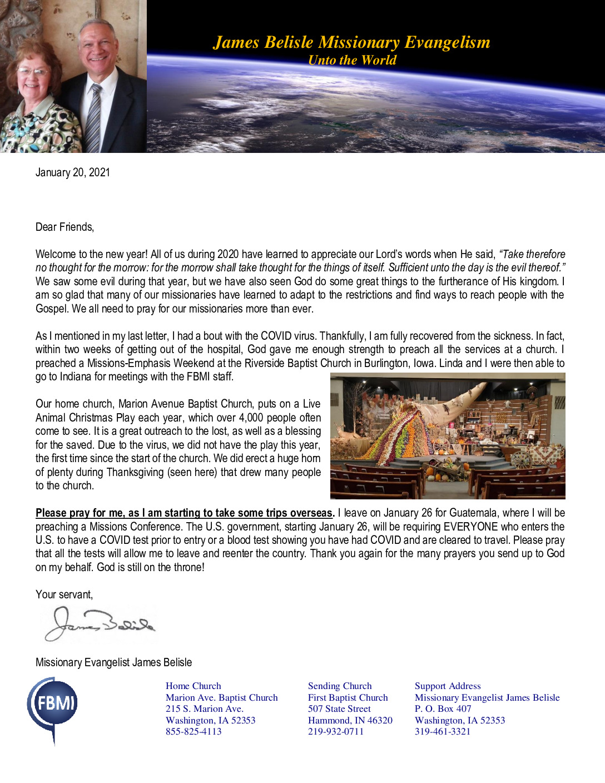 thumbnail of James Belisle January 2021 Prayer Letter – Revised