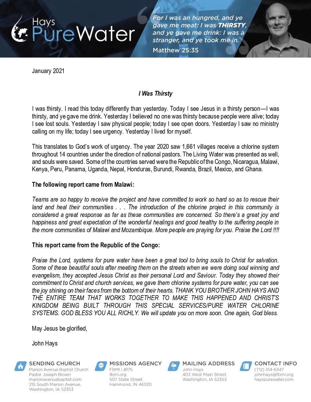thumbnail of John Hays January 2021 Prayer Letter – Revised