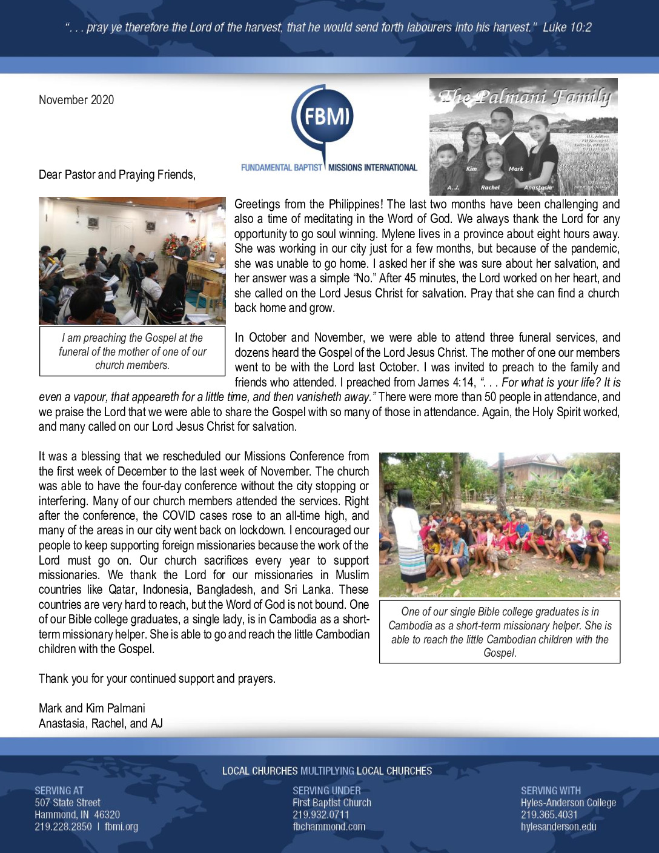 thumbnail of Mark Palmani November 2020 Prayer Letter – Final