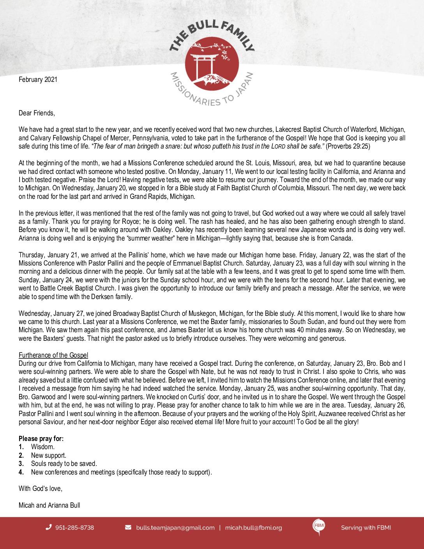 thumbnail of Micah Bull February 2021 Prayer Letter