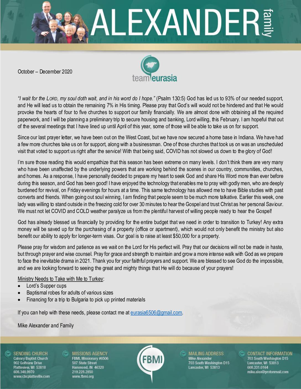 thumbnail of Mike Alexander Oct-Dec 2020 Prayer Letter – Revised