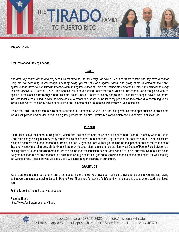 thumbnail of Roberto Tirado January 2021 Prayer Letter
