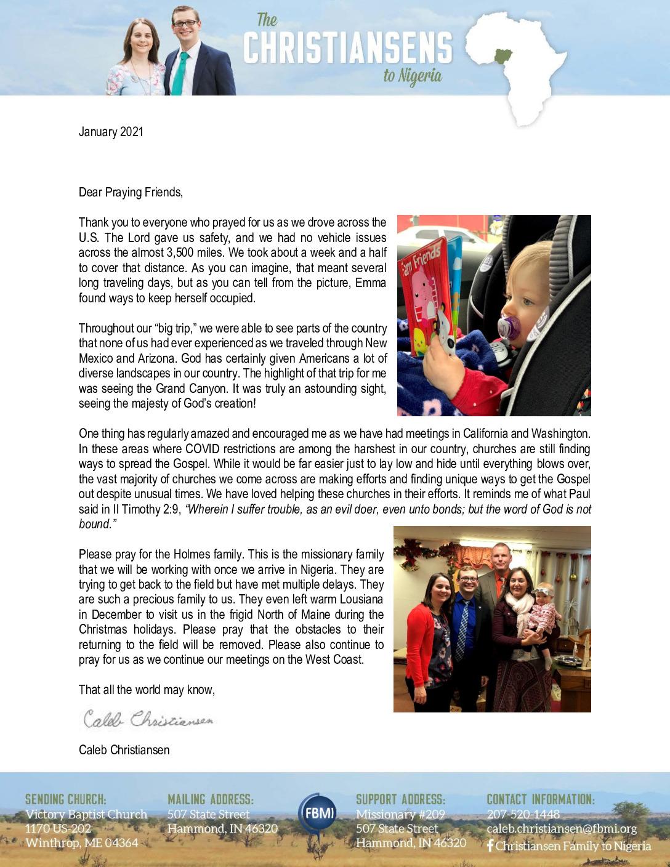 thumbnail of Caleb Christiansen January 2021 Prayer Letter