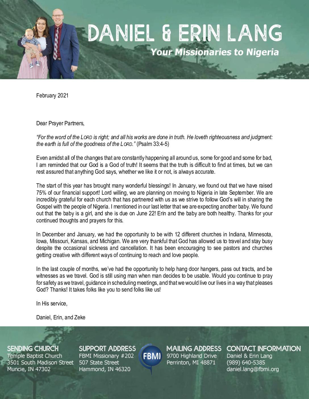thumbnail of Daniel Lang February 2021 Prayer Letter