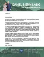 Daniel Lang Prayer Letter: 75% Support!
