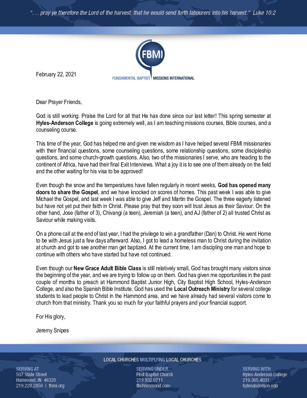 thumbnail of Jeremy Snipes February 2021 Prayer Letter – Revised
