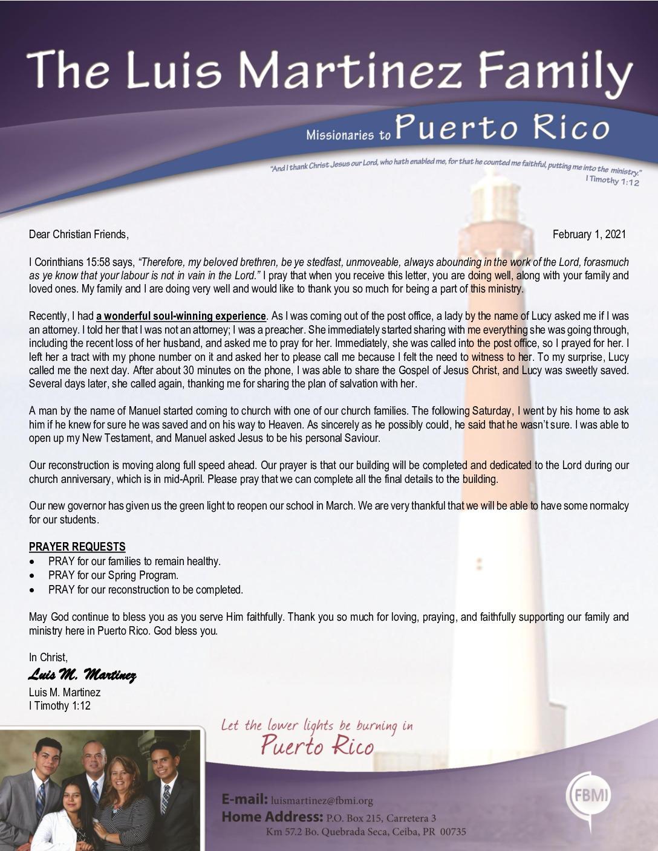 thumbnail of Luis Martinez February 2021 Prayer Letter