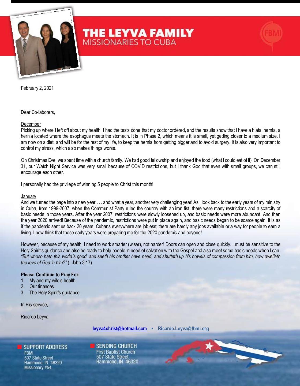 thumbnail of Ricardo Leyva February 2021 Prayer Letter