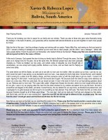 Xavier Lopez Prayer Letter: First Soul Saved of 2021, Back In Bolivia, Answered Prayer, and Prayer Requests