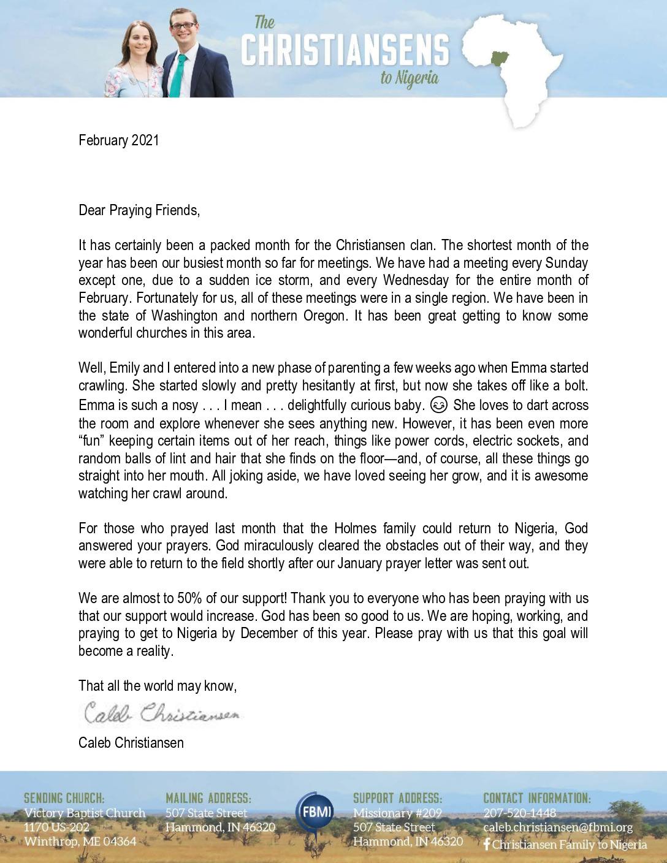 thumbnail of Caleb Christiansen February 2021 Prayer Letter – Revised