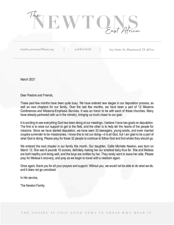 thumbnail of Charles Newton March 2021 Prayer Letter