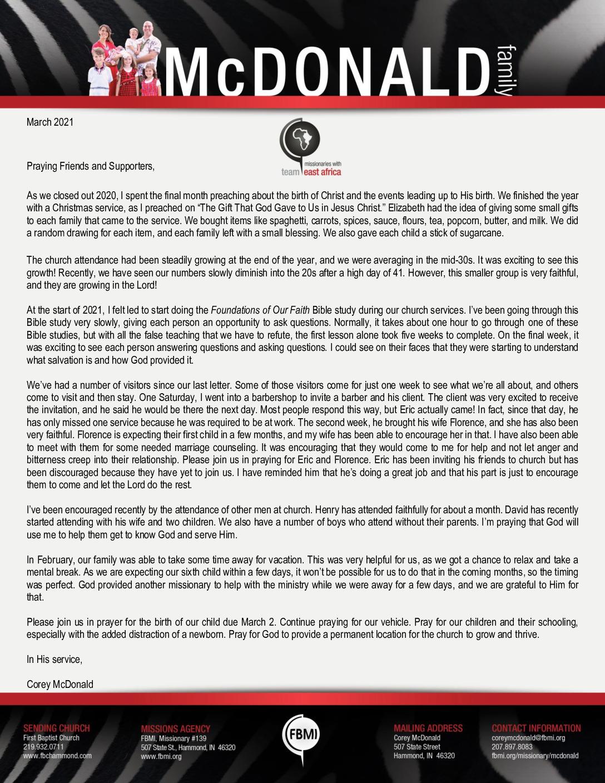 thumbnail of Corey McDonald March 2021 Prayer Letter – Revised
