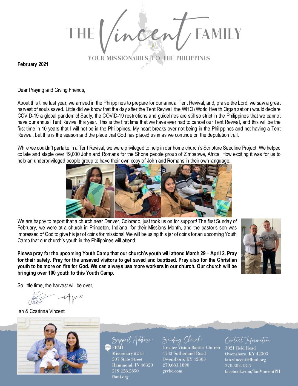 thumbnail of Ian Vinent February 2021 Prayer Letter
