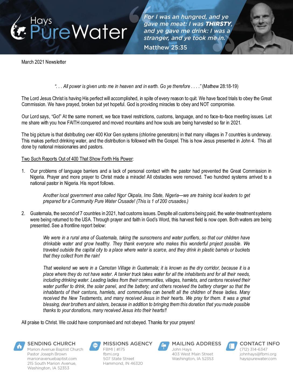 thumbnail of John Hays March 2021 Prayer Letter