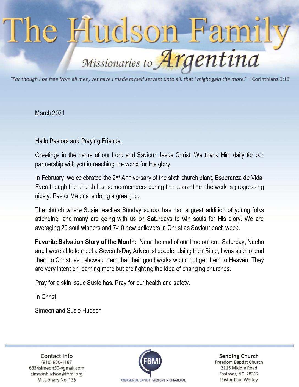 thumbnail of Simeon Hudson March 2021 Prayer Letter