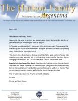 Simeon Hudson Prayer Letter: Second-Year Anniversary