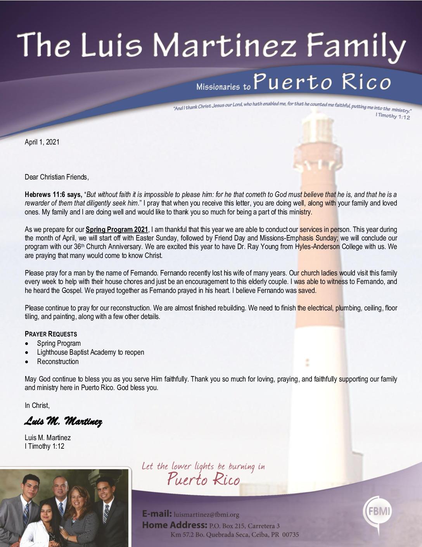 thumbnail of Luis Martinez April 2021 Prayer Letter