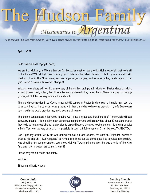 thumbnail of Simeon Hudson April 2021 Prayer Letter