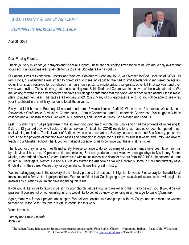 thumbnail of Tommy Ashcraft April 2021 Prayer Letter