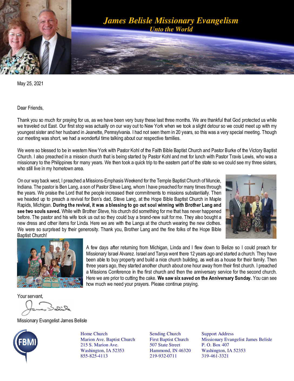thumbnail of James Belisle May 2021 Prayer Letter – Revised