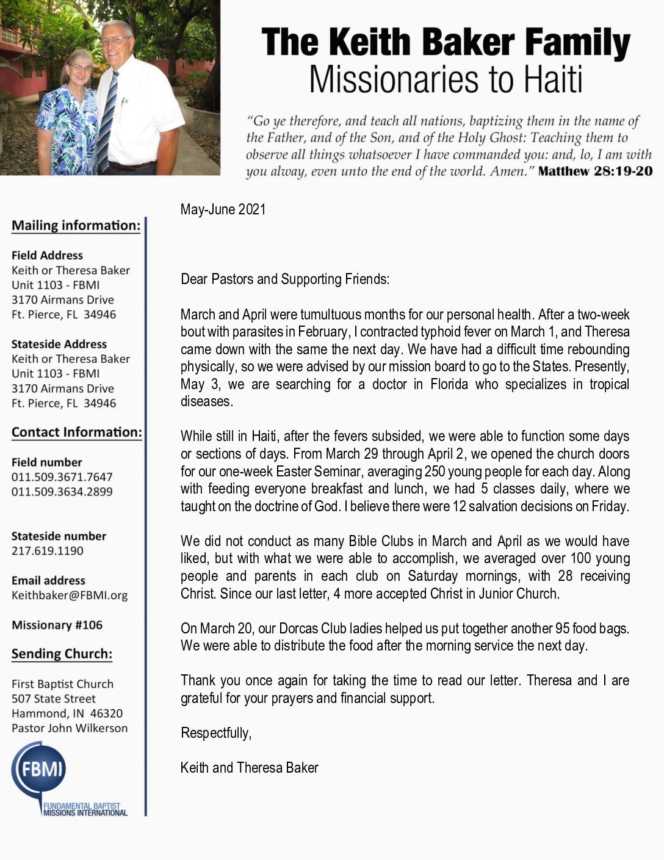 thumbnail of Keith Baker May-Jun 2021 Prayer Letter
