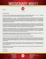Missionary #6011 Prayer Letter: Can God Provide? Yes He Can!