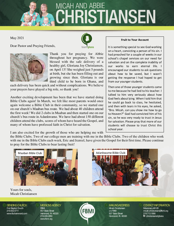 thumbnail of Micah Christiansen May 2021 Prayer Letter